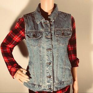 2🌈$12 Vintage light wash cardigan denim vest